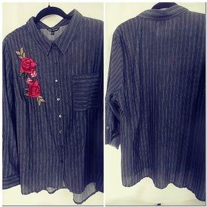 Unique Spectrum Plus, Striped,embroider blouse